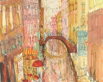 VENICE ITALY ART, Venetian Bridges, Grand Canal Art Print, Signed Limited Edition, Watercolour Painting, Italy Wall Decor, Clare Caulfield