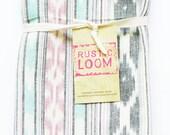 Tea Towel- Handwoven Aqua Pink Grey Ikat Geometric Stripe- Kitchen Towel