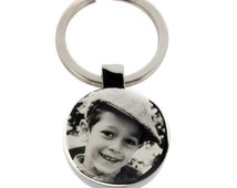 Photo Engraved Keyring - Key Chain - Key Ring - Personalised Father's Dad's Gift Idea with Custom Engraving Back Option