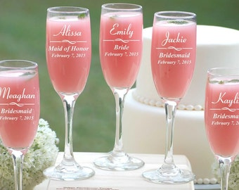 9 Personalized Champagne Glasses, Custom Engraved Toasting Glasses, Bridesmaids Wedding Gift, Bridesmaid Champagne Flutes, Personalized Gift