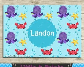 Personalized Bank Under the Sea Crab, Octopus, Starfish Underwater Sea life Aquarium