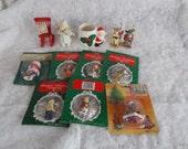 Vintage Miniature Christmas Trimmeries Santa Tree Light Japan Santa Candle Holder /Lot
