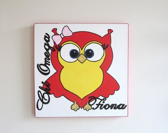 hand painted personalized Chi Omega mascot 12x12 canvas OFFICIAL LICENSED PRODUCT