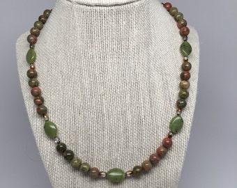 Unakite and Canadian Jade Necklace