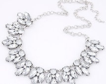 Statement Necklace Crystal Statement Necklace Gold Crystal Statement Necklace Bib Necklace Weddings BRIDESMAIDS Proms chunky necklace