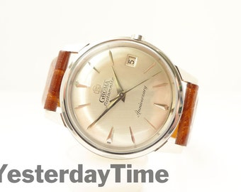 Groma Anniversary Men's Watch 1960's Swiss Made 21 Jewel Automatic Movement Stainless Steel Case