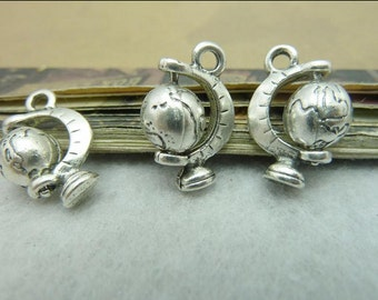 5pcs 3D Antique Silver Globe Charms Pendant 13x19mm Tellurian Charms Pendant, Globe Clipart