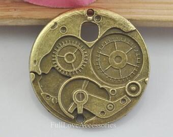 10pcs Gear Charms, 25mm Antique Brass Gear Charms Pendants, Gear Charms Connectors