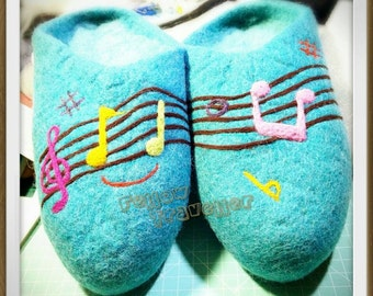 OOAK Wet Felted slippers - melody (Ready to Ship)
