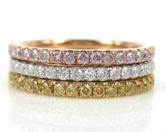 Trio Bands: 2.10cts Argyle Light Pink, Yellow & White Diamond Eternity Bands- Stacking