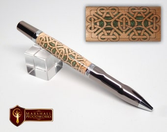 Celtic Pen With Carved Scrollwork and Comfort Grip