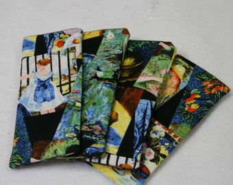 Bright colorful  eyeglass case featuring variety Great Masters paintings