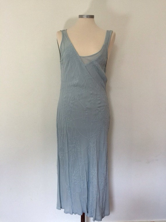 1920s replica crepe dress seafoam asymmetric gown duck egg