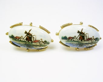 Vintage Cufflinks, Porcelain Delft Cuff Links, Hand Painted, Wind Mill, Formal Wear, Man Jewellery, Suit Accessory, Wedding Gift