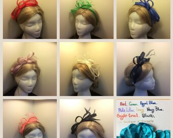 Bow Loops Feather Fascinator Satin Headband - available in navy blue, ivory, green, red, and coral colors