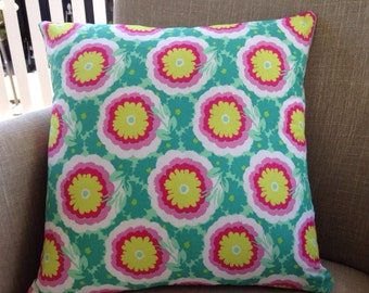 """Amy Butler Soul Blossoms """"Spearmint Buttercups"""" 45cm square cushion cover/pillow with EST French linen backing"""