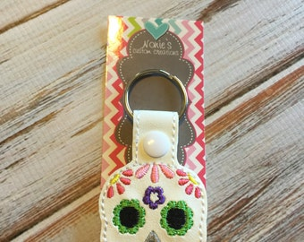 Sugar Skull Keychain - Day of the Dead Keychain - Skull Keychain - Sugar Skull Key Chain - Halloween Keychain -