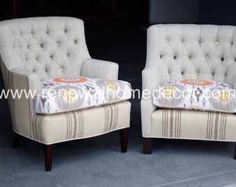 custom club chairs. Custom Order - Button Tufted Upholstered Club Chairs \ S