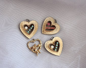 Heart Pendants - Heart Charms - Vintage Jewelry -  Valentine's Gift - Valentine's Day Prop - Wedding Prop - Heart Decorations