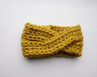 Knitted Headband Chunky Headband Ear Warmer Cabled Headband Head wrap in Mustard Hair Accessories Gift under 20 FREE Shipping to CANADA