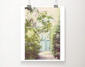 blue door photograph english garden photograph green leaf photograph tree photograph summer photograph pastel home decor