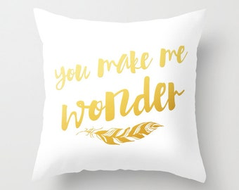 You make me wonder decorative throw pillows black and gold pillow cover home decor housewares hipster typographic pillow feathers golden