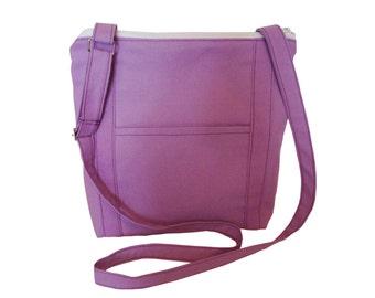 Zippered Cross body Bag/ Messenger Bag/ iPad Bag/ Adjustable Strap/ Lilac, Yellow, Red, Green Aqua, Pink, Blue.