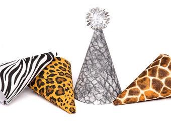 Safari Party Hat Animal Print Party Hat Animal Print Safari MINIATURE Party Hat SINGLE or SET of 4
