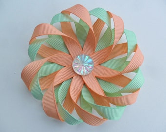 coral mint green hair clip, coral mint green hair bow, wedding flower hair bow, flower hair clip for girl, Spring hair accessories for women