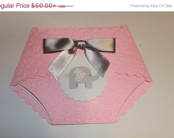25 Printed Embossed w/elephant tag or other DIY baby shower diaper  invitations W/  embellishments and white envelopes