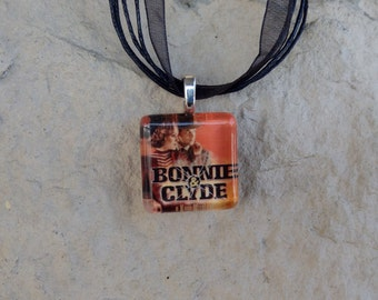 Broadway Musical Bonnie and Clyde Glass Pendant and Ribbon Necklace