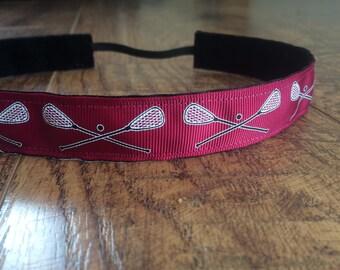 Maroon Lacrosse headband. Burgundy lacrosse headband, lacrosse headband, girls hair accessory, non slip headband, lacrosse gift, sports