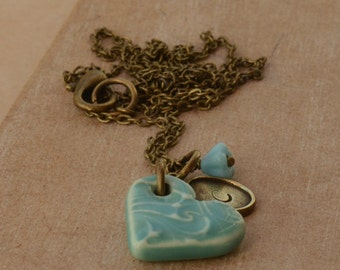Handmade Ceramic Heart, Personalised Initial & Bead Necklace OOAK UK Seller