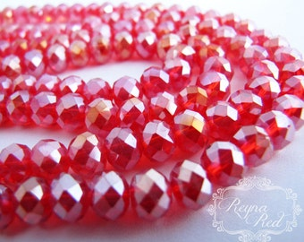 Crimson AB Faceted Rondelle Beads, 58 pcs, 8x5mm size, bright red AB faceted beads - reynaredsupplies