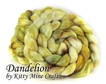 Polwarth Mohair Silk Combed Top - Roving - Dandelion - 4oz/ 113g - Spinning Supplies, Felting Wool - Yellow, Brown, Green