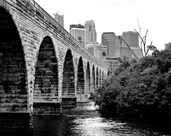 Stone Arch Bridge, Minneapolis, MN  Black and White   Photography Print