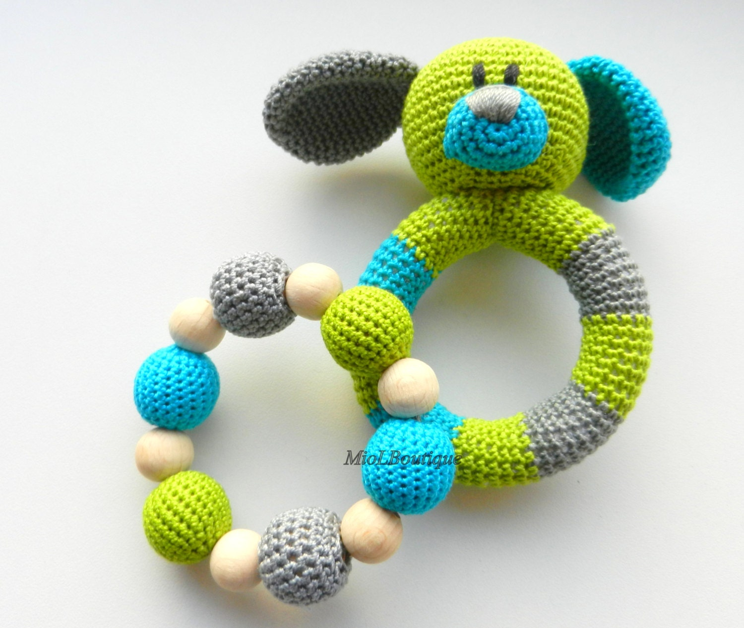 Baby rattle SET of 2 Crochet Baby toy Grasping Teething Toys