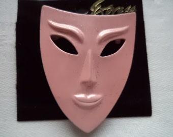 Vintage Signed JJ  Pink Enamel Face Mask Brooch/Pin