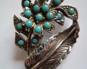 Fabulous Unsigned Vintage Dark Silvertone/Turquoise Flowers Brooch/Pin