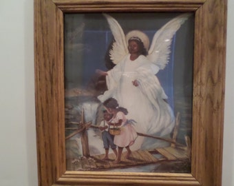 African American Guardian Angel Picture Frame