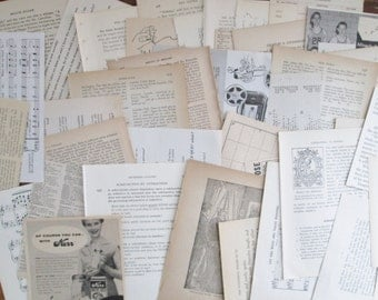 SALE !  Vintage Book Paper 150 Pages & Pieces Paper Ephemera Pack Vintage Music Dictionary Fiction NonFiction Book Paper