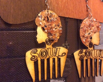SoulSista Blinging Afro Pic Earrings