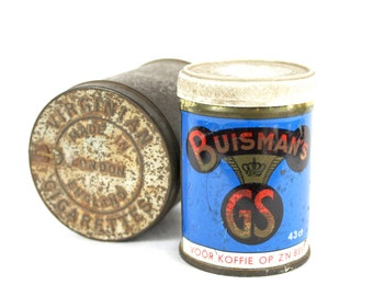 Old Small Tins With Lids Old Tobacco Tin Blue Coffee Tin Made in Holland Decorative Tin Box Set