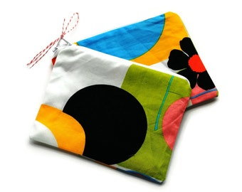 Reusable Snack Bags Set of 2 Alexander Henry Modern Orange Yellow Green Pink Black