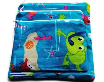 Reusable Sandwich Snack Bags Set of 3 Zipper Turquoise Frogs Fish