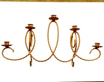 Large Wall Sconce, Five Candle Holders, Wall Mount Gold Twisted Metal Candle Holder, Hollywood Regency, Statement Piece
