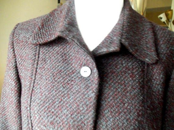 Wool Blazer, Ann Freedberg Wool Blazer Jacket, Aubergine Tweed, Excellent Condition, Size 10