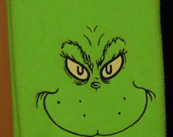 Grinch Fleece Scarf custom embroidered w/ first name