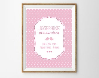 Pink Bird Birth Announcement Print for a Baby Girl's Nursery - Instant Download Wall Art - Print at Home