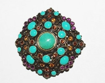 Joan Rivers Turquoise Brooch - S1040